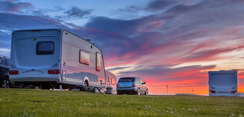 Caravan with the sunset